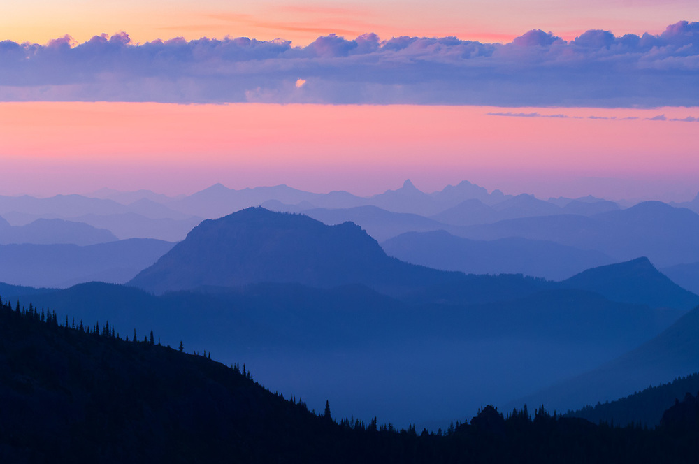 Twilight over the Cascade Mountain Range, August, view from the Norse Peak Wilderness, Mount Baker-Snoqualmie National Forest, Washington, USA