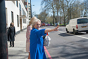 SUZANNE O'REILLY; ( BLUE ) CHRISTINE O'REILLY, Leaving The Seventh Annual Foreign Sisters Lunch in aid of Cancer Research UK. . The Dorchester 53 Park Lane. London. 1 May 2013.
