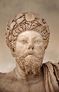 Roman sculpture of the Emperor Marcus Aurelius, excavated from Bulla Regia Theatre, sculpted circa late second century. The Bardo National Museum, Tunis. .<br /> <br /> If you prefer to buy from our ALAMY STOCK LIBRARY page at https://www.alamy.com/portfolio/paul-williams-funkystock/greco-roman-sculptures.html . Type -    BARDO    - into LOWER SEARCH WITHIN GALLERY box - Refine search by adding a subject, place, background colour, museum etc.<br /> <br /> Visit our CLASSICAL WORLD HISTORIC SITES PHOTO COLLECTIONS for more photos to download or buy as wall art prints https://funkystock.photoshelter.com/gallery-collection/The-Romans-Art-Artefacts-Antiquities-Historic-Sites-Pictures-Images/C0000r2uLJJo9_s0c