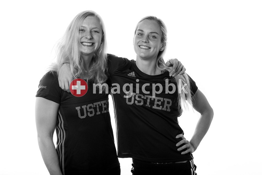 (L-R) SC Uster Wallisellen's swimmers Maria UGOLKOVA and Sasha TOURETSKI of Switzerland pose for a portrait during a photo session at the Hallenbad Buchholz in Uster, Switzerland, Saturday, Feb. 4, 2017. (Photo by Patrick B. Kraemer / MAGICPBK)