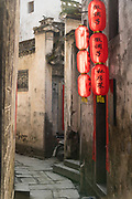 Chinese lanterns and street in ancient Chinese Xidi village, UNESCO World heritage, Anhui province, China