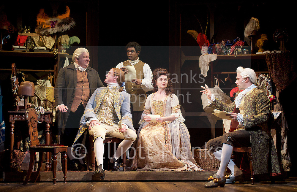 Mr Foote's Other Leg <br /> by Ian Kelly <br /> at Theatre Royal Haymarket, London, Great Britain <br /> press photocall<br /> 30th October 2015 <br /> <br /> <br /> Simon Russell Beale as Samuel Foote <br /> Ian Kelly as Prince George <br /> Micah Balfour as Frank Barber<br /> Dervla Kirwan as Peg Woffington <br /> Joseph Millson as David Garrick <br /> <br /> Joshua Elliott as Mr Hallam <br /> Photograph by Elliott Franks <br /> Image licensed to Elliott Franks Photography Services
