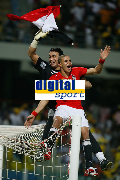 Photo: Steve Bond/Richard Lane Photography.<br /> Cameroon v Egypt. The Final. Africa Cup of Nations. 10/02/2008. Esan el Hadary (back) and Mohamed Zidan (front) celebrate victory