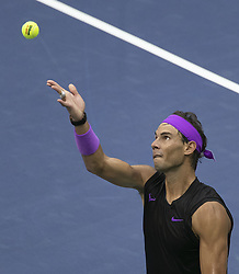 September 8, 2019, Flushing Meadows, New York, United States of America: Rafael Nadal serves during his Men Singles Finals match against Daniil Medvedev on Day 14 of the 2019 US Open at USTA Billie Jean King National Tennis Center on Sunday September 8, 2019 in the Flushing neighborhood of the Queens borough of New York City. JAVIER ROJAS/PI (Credit Image: © Prensa Internacional via ZUMA Wire)