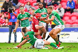 Blade Thomson of Scarlets is tackled by Antonio Rizzi of Benetton Treviso<br /> <br /> Photographer Craig Thomas/Replay Images<br /> <br /> Guinness PRO14 Round 3 - Scarlets v Benetton Treviso - Saturday 15th September 2018 - Parc Y Scarlets - Llanelli<br /> <br /> World Copyright © Replay Images . All rights reserved. info@replayimages.co.uk - http://replayimages.co.uk