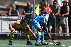 (L-R) Eddie Ockenden of Australia, Sunil Sowmarpet Vitalacharya of India during the Champions Trophy finale between the Australia and India on the fields of BH&BC Breda on Juli 1, 2018 in Breda, the Netherlands.