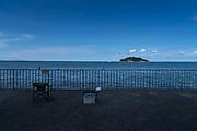promenade with fishing gear at Umikaze park, Yokosuka with Tokyo Bay and Sarushima Island