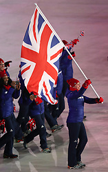 Great Britain flag-bearer Lizzy Yarnold during the Opening Ceremony of the PyeongChang 2018 Winter Olympic Games at the PyeongChang Olympic Stadium in South Korea.