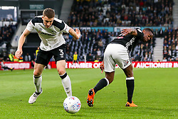 Craig Forsyth of Derby County tackles Ryan Sessegnon of Fulham - Mandatory by-line: Robbie Stephenson/JMP - 11/05/2018 - FOOTBALL - Pride Park Stadium - Derby, England - Derby County v Fulham - Sky Bet Championship