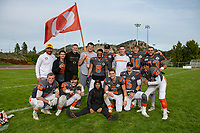 KELOWNA, BC - OCTOBER 6: Brothers Connor Johnstone #15, Liam Johnstone #40 and Kaleb Johnston #67  stand with Daniel Townsend #66 and Alex Douglas #1 of Okanagan Sun pose for a photo on the field after the win against the VI Raiders at the Apple Bowl on October 6, 2019 in Kelowna, Canada. (Photo by Marissa Baecker/Shoot the Breeze)