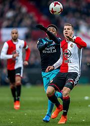 25-02-2017 NED: Feyenoord - PSV, Rotterdam<br /> 24e speelronde van seizoen 2016-2017, De Kuip / Nicolas Isimat Mirin #2, Nicolai Jorgensen #9