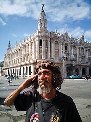 Old Havana, Cuba. Havana vieja, street. Gran Teatro de La Habana. Old man looks like Che Guevara.