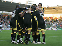Photo: Lee Earle.<br /> Plymouth Argyle v Cardiff City. Coca Cola Championship. 15/09/2007. Cardiff's Steve Thompson is congratulated after scoring their second goal.