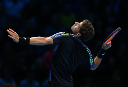 November 15, 2017 - London, United Kingdom - Pablo Carreno Busta of Spain against Dominic Thiem of Austia.during Day Four of the NITTO ATP World Tour  Finals played at The O2 Arena, London on November 15 2017  (Credit Image: © Kieran Galvin/NurPhoto via ZUMA Press)