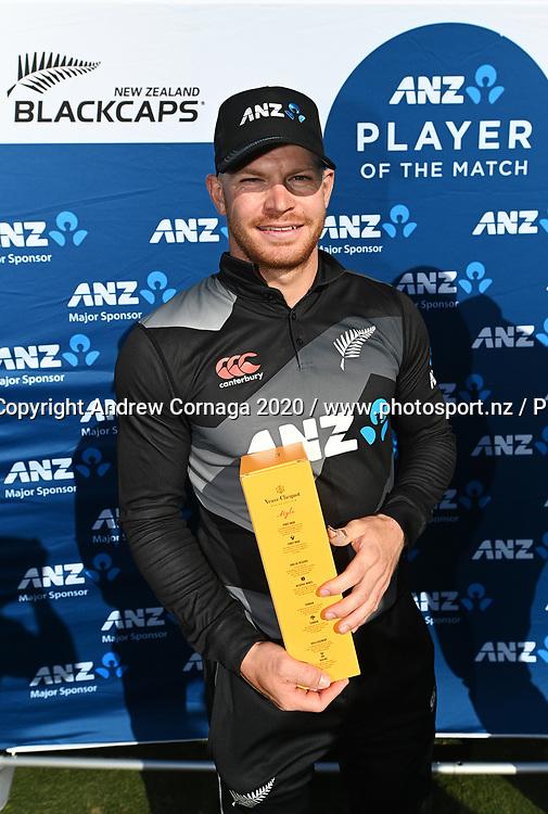 ANZ Player of the match Glenn Phillips during the New Zealand Black Caps v West Indies match. Twenty20 international cricket. Bay Oval, Mount Maunganui, New Zealand. Sunday 29 November 2020 © Copyright Photo: Andrew Cornaga / www.photosport.nz