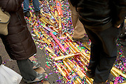 confetti on the ground at a street party