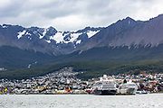 view of a cruise ship in the port of Ushuaia the capital of Tierra del Fuego, Antartida e Islas del Atlantico Sur Province, Argentina.