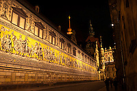 The 100 meter long Procession of Princes (the largest porcelain image in the world, made up of 25,000 tiles) which shows a total of 35 princes, dukes, margraves and kings on horseback and 59 scientists, artisans, craftsmen and farmers) from the House of Wetten (rulers of Saxony from 1127-1918), Augustusstrasse, Dresden, Saxony, Germany