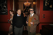 DANTE LEONELLI AND JUSTIN DE VILLENEUVE, Sir Peter Blake and Poppy De Villeneuve host a party with University of the Arts London at the Arts Club, Dover Street, London. 20 APRIL 2006<br />ONE TIME USE ONLY - DO NOT ARCHIVE  © Copyright Photograph by Dafydd Jones 66 Stockwell Park Rd. London SW9 0DA Tel 020 7733 0108 www.dafjones.com