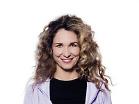 caucasian woman cheerful smile portrait isolated studio on white background