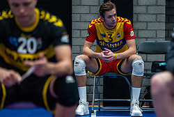 Joris Berkhout of Dynamo disappointed after the cup final between Amysoft Lycurgus vs. Draisma Dynamo on April 18, 2021 in sports hall Alfa College in Groningen
