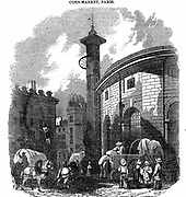 Halle au Bles et Farine (Market for Corn and Flour), Paris. Built in 1772 by the Paris authorities, enlarged 1782 and rebuilt after fire in 1802. Woodcut London 1836.