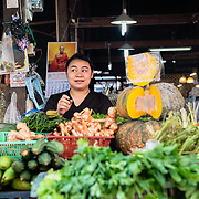 Thai woman at local fresh market in Chiang Mai