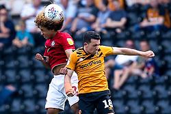 Han-Noah Massengo of Bristol City challenges George Honeyman of Hull City - Mandatory by-line: Robbie Stephenson/JMP - 24/08/2019 - FOOTBALL - KCOM Stadium - Hull, England - Hull City v Bristol City - Sky Bet Championship