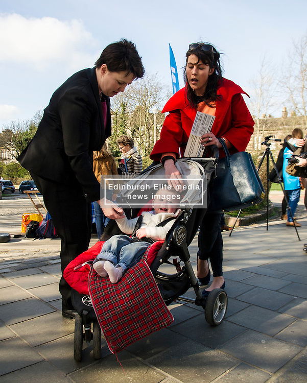 Pictured: Ruth davidson met Sofie Fletcher and her 15 month old daughter Coco when in Stockbridge.<br /> <br /> Scottish Conservative leader Ruth Davidson visited Stockbridge in Edinburgh today as she continues o the campaign trail.<br /> <br /> Ger Harley   EEm 25 March 2016