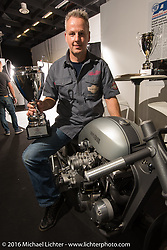Michael Naumann & Olli Schulze built this bike named Simple Iron from a modified Harley-Davidson Ironhead Sportster and took 2nd place in the freestyle class in the AMD World Championship of Custom Bike Building in the custom themed Hall 10 at the Intermot Motorcycle Trade Fair. Cologne, Germany. Saturday October 8, 2016. Photography ©2016 Michael Lichter.