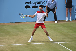 June 23, 2018 - London, England, United Kingdom - Novak Djokovic of Serbia plays forehand against Jeremy Chardy of Franceduring the semi final singles match on day six of Fever Tree Championships at Queen's Club, London on June 23, 2018. (Credit Image: © Alberto Pezzali/NurPhoto via ZUMA Press)