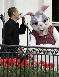 US President Barack Obama delivers a welcome speech prior to the Easter Egg roll at the White House in Washington, DC, USA on April 13, 2009. Photo by Yuri Gripas/ABACAPRESS.COM  | 184311_001 Washington