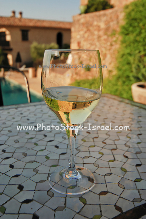 Europe, Spain Close up of a chilled glass of white wine. Old farmhouse now hotel in the background