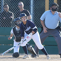 Branham #8 Taylor Ann Fowler watches the ball go over the fence for a homer vs Leigh in a pre season girls varsity softball game at Leigh High School, San Jose CA on 3/7/18. (Photograph by Bill Gerth)