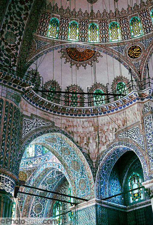 """Sultanahmet (or Blue) Mosque interior and ceiling, was built 1609-1616 in Istanbul (?stanbul), in the present-day Republic of Turkey. Published in """"Light Travel: Photography on the Go"""" book by Tom Dempsey 2009, 2010."""