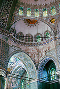 "Sultanahmet (or Blue) Mosque interior and ceiling, was built 1609-1616 in Istanbul (?stanbul), in the present-day Republic of Turkey. Published in ""Light Travel: Photography on the Go"" book by Tom Dempsey 2009, 2010."