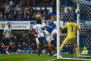 Portsmouth Forward, Brett Pitman (8) scores a goal to make it 2-1 during the EFL Sky Bet League 1 match between Portsmouth and Wycombe Wanderers at Fratton Park, Portsmouth, England on 22 September 2018.