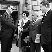 New Dáil Deputies arrive at Leinster House. The new Dail Deputy for Cork Seán French being welcomed to Leinster House by A.A. Healy T.D. with Mrs. French and Flor Crowley, T.D. for Mid-Cork..14.11.1967