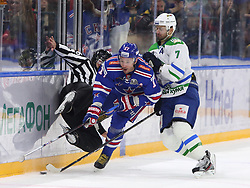 October 13, 2017 - St. Petersburg, Russia - October 13, 2017. St. Petersburg, Russia. Continental Hockey League Season 2017/18. HC SKA v HC Salavat Yulayev. (Credit Image: © Russian Look via ZUMA Wire)