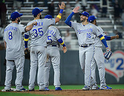 September 1, 2017 - Minneapolis, MN, USA - The Kansas City Royals celebrate a 7-6 victory against the Minnesota Twins on Friday, Sept. 1, 2017, at Target Field in Minneapolis. (Credit Image: © Aaron Lavinsky/TNS via ZUMA Wire)
