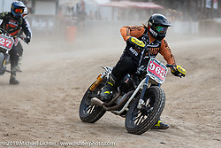 Hooligan flattracker (no. 963) Mikey Hill on his Harley-Davidson Sportster racer in the Hooligan races on the temporary track in front of the Sturgis Buffalo Chip main stage during the Sturgis Black Hills Motorcycle Rally. SD, USA. Wednesday, August 7, 2019. Photography ©2019 Michael Lichter.
