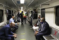 South Africa - Durban - 01 June 2020 - Transport MEC Bheki Ntuli and eThekwini Mayor Mxolisi Kaunda monitors adherence to guidlines promulgated under alert level 3 of the covid 19 national lockdown on board a Metrorail train from Durban station to Dalbridge station