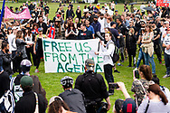 Demonstrators are seen gathering near The Shrine of Remembrance during the Freedom protest on October 23, 2020 in Melbourne, Australia. Freedom protests are being held in Melbourne in response to the governments COVID-19 restrictions and continuing removal of liberties despite new cases being on the decline. Victoria recorded a further 1 new cases overnight along with no deaths recorded.(Photo by Mikko Robles/Speed Media)