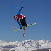 Elias Ambuhl, Switzerland,  in action in the Slopestyle Finals during The North Face Freeski Open at Snow Park, Wanaka, New Zealand, 2nd September 2011. Photo Tim Clayton...
