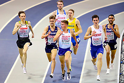 Great Britain's Andrew Butchart (centre) competes in the Men's 3000m Heat 1 during day one of the European Indoor Athletics Championships at the Emirates Arena, Glasgow.