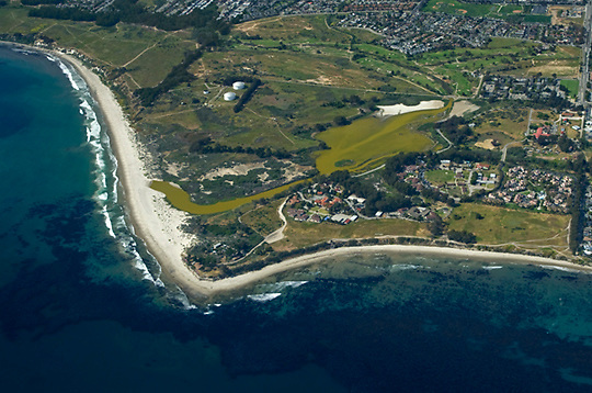 View of Devereux Lagoon, near the UCSB Campus, from the air looking north/northwest.