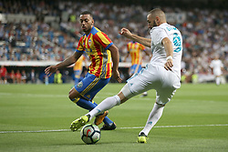 August 27, 2017 - Madrid, Spain - Benzema with the ball in front of Ruben Vezo. LaLiga Santander matchday 2 between Real Madrid and Valencia. The final score was 2-2, Marco Asensio scored twice for Real Madrid. Carlos Soler and Kondogbia did it for Valencia. Santiago Bernabeu Stadium, august 27, 2017. Photo by  (Credit Image: © |Antonio Pozo |  Media Expre/VW Pics via ZUMA Wire)