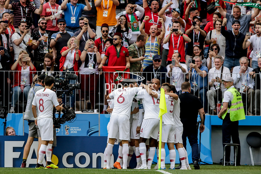 Cristiano Ronaldo of Portugal celebrates after his goal with teammates during the 2018 FIFA World Cup Russia, Group B football match between Portugal and Morocco on June 20, 2018 at Luzhniki stadium in Moscow, Russia - Photo Thiago Bernardes / FramePhoto / ProSportsImages / DPPI