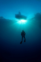Silhouette of a scuba diver in Cuba