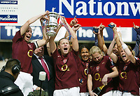 Photo: Chris Ratcliffe.<br /> Leeds United v Arsenal. Womens' FA Cup Final. 01/05/2006.<br /> Arsenal Ladies celebrate the easy win by lifting the cup.